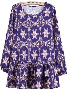 Purple Long Sleeve Geometric Print Ruffle Dress