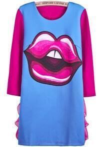 Blue Long Sleeve Contrast Lace Lip Print Dress