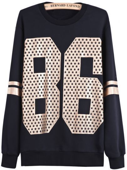 Black Long Sleeve Gold 86 Print Loose Sweatshirt