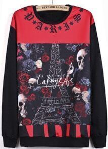 Black Contrast Red Long Sleeve Skull Rose Print Sweatshirt