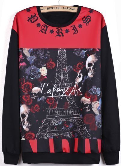 Black Contrast Red Long Sleeve Skull Rose Print Sweatshirt