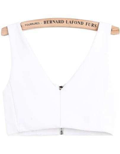 White V Neck Zipper Crop Vest