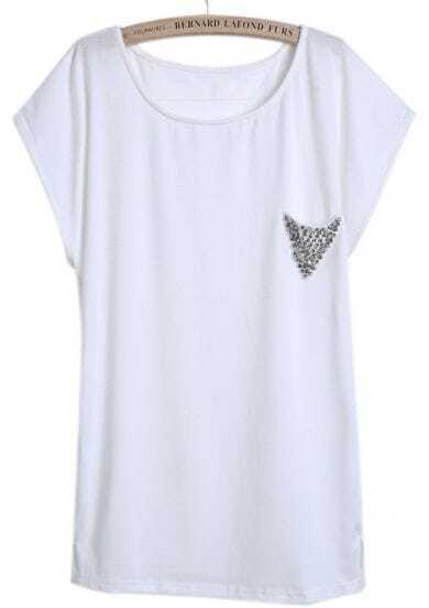 White Short Sleeve Rivet Loose Dipped Hem T-Shirt