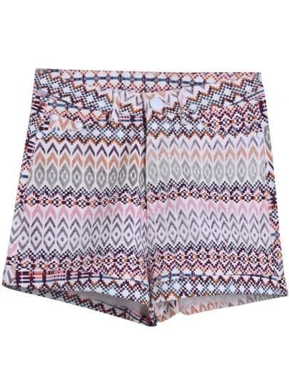 Green Zigzag Print Straight Shorts
