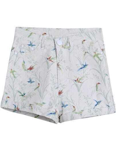 White Birds Print Straight Shorts