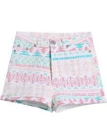 White Geometric Print Straight Shorts