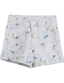 White Birds Print Straight Shorts