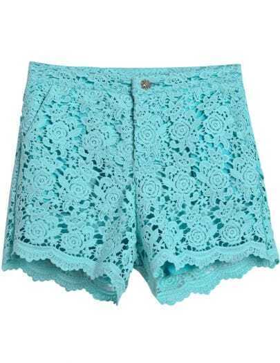 Turquoise Hollow Lace Straight Shorts