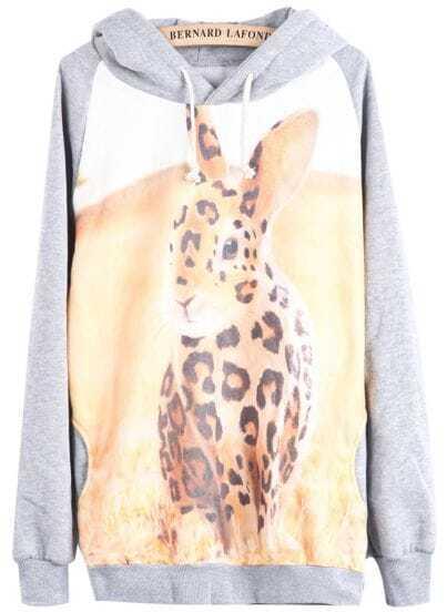 Grey Hooded Long Sleeve Rabbit Print Sweatshirt
