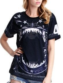 Black Short Sleeve Stars Girls Print T-Shirt