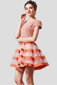 Orange Short Sleeve Striped Dress