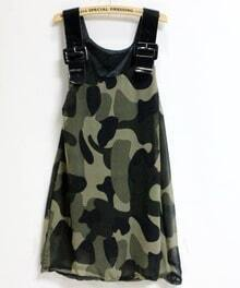 Green Camouflage Contrast Pu Dress
