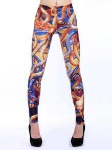 Multi Facial Make Up Print Slim Leggings