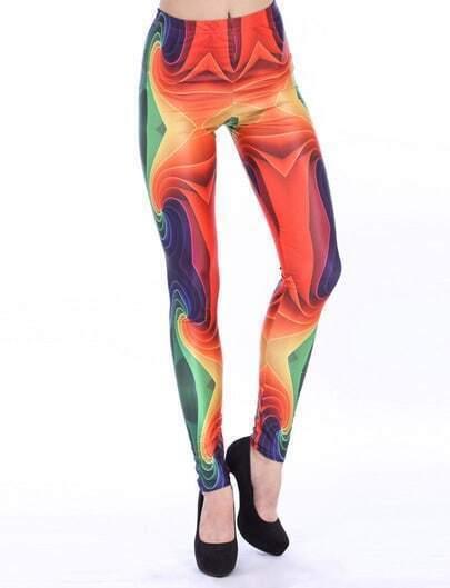 Multi Slim Print Elastic Leggings