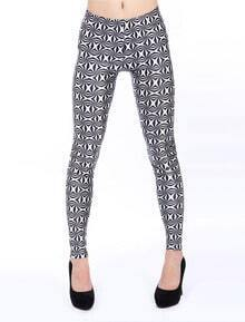 Black White Geometric Print Leggings