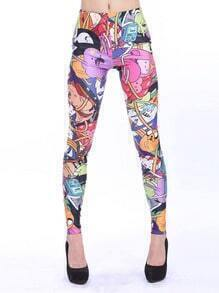 Multi Elastic Cartoon Characters Print Leggings