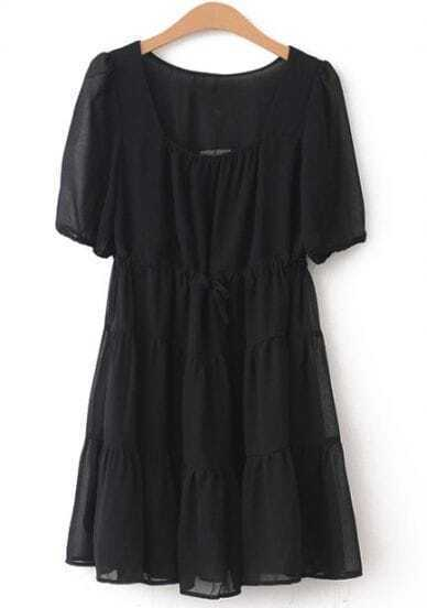 Black Short Sleeve Slim Pleated Chiffon Dress
