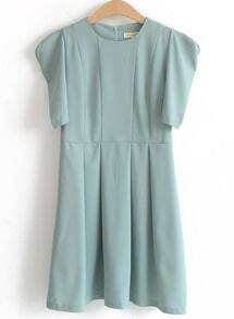 Green Short Sleeve Shoulder Pads Pleated Dress