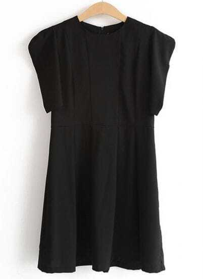 Black Short Sleeve Shoulder Pads Pleated Dress