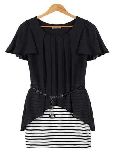 Black Short Sleeve Contrast Striped Bodycon Dress