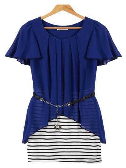 Blue Short Sleeve Contrast Striped Bodycon Dress