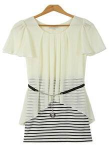 Apricot Short Sleeve Contrast Striped Bodycon Dress