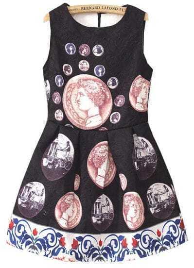 Black Sleeveless Vintage Coins Print Flare Dress
