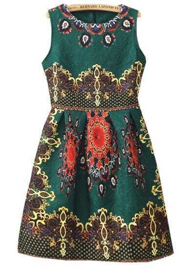 Green Sleeveless Vintage Floral Flare Dress