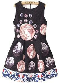 Black Sleeveless Vintage Coins Print Flare Dress