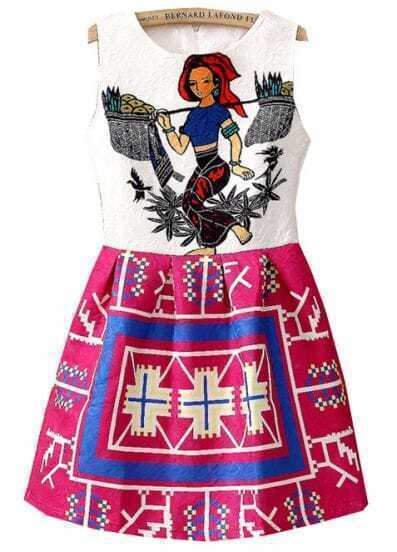 White Sleeveless Vintage Tribal Print Dress