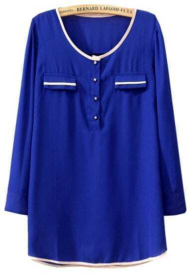 Blue Long Sleeve Pockets Chiffon Loose Blouse