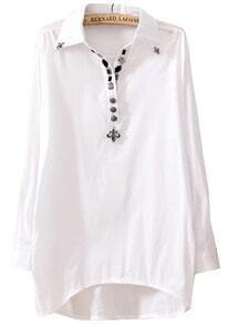 White Lapel Long Sleeve Cross Slim Blouse