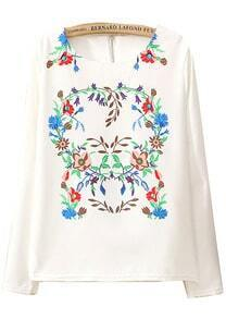 White Long Sleeve Zipper Floral Blouse