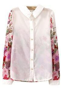 White Lapel Contrast Floral Long Sleeve Chiffon Blouse