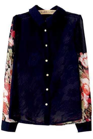 Blue Lapel Contrast Floral Long Sleeve Chiffon Blouse