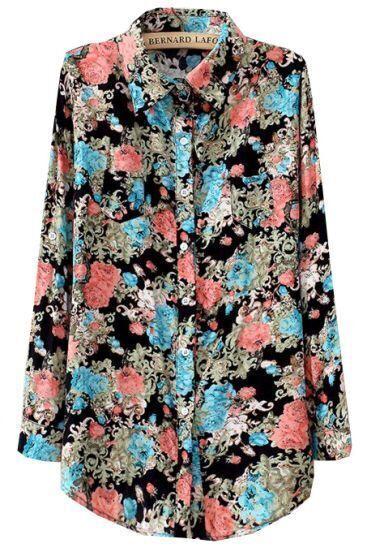 Black Lapel Long Sleeve Vintage Floral Blouse