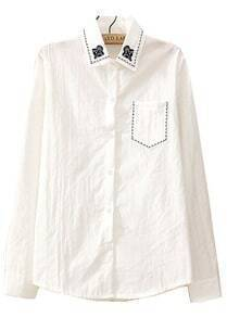 White Embroidered Lapel Long Sleeve Pocket Blouse