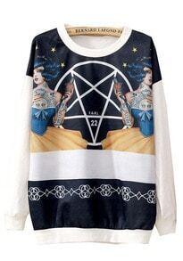 White Long Sleeve Stars Beauty Print Sweatshirt