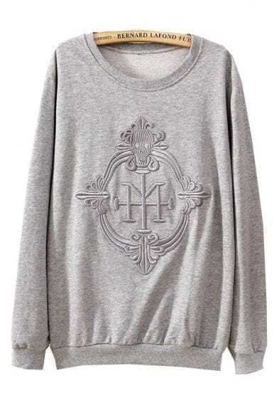 Grey Long Sleeve Embroidered Loose Sweatshirt
