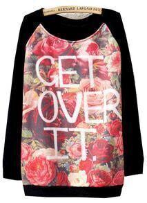 Black Long Sleeve Floral Letters Print Sweatshirt