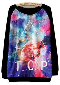 Black Long Sleeve Galaxy Triangle Print Loose Sweatshirt