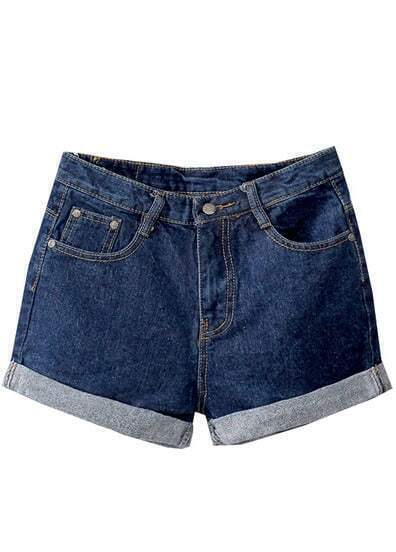 Navy Slim Flange Denim Shorts