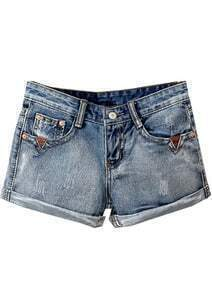 Blue Vintage Bleached Flange Denim Shorts