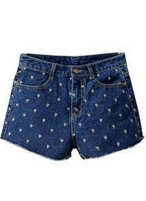Navy Hearts Embroidered Denim Shorts