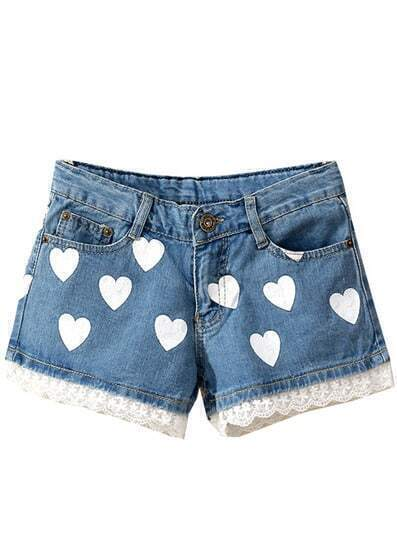 Blue Contrast Lace Hearts Print Denim Shorts