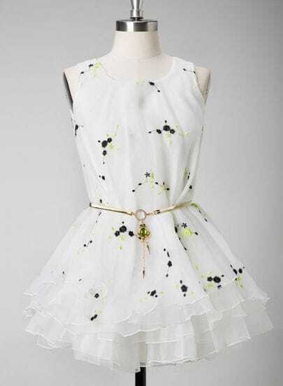 White Sleeveless Plum Flower Embroidery Dress