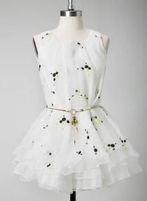 White Sleeveless Plum Flower Embroidery Dress