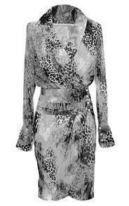 Grey Long Sleeve V Neck Leopard Print Dress