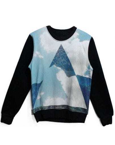 Black Long Sleeve Cloud Triangle Print Sweatshirt