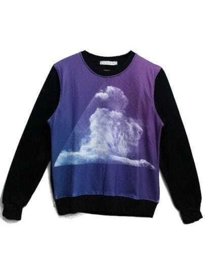 Black Contrast Purple Cloud Lion Print Sweatshirt